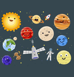 astronaut space landing planets spaceship solar vector image