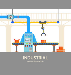 Automated packaging line at plant or factory vector