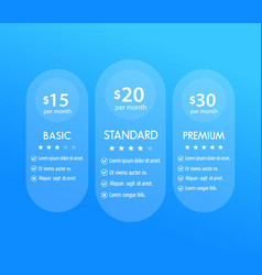 Banner for tariffs set of pricing table boxes vector