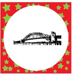 Black 8-bit sydney harbor bridge vector