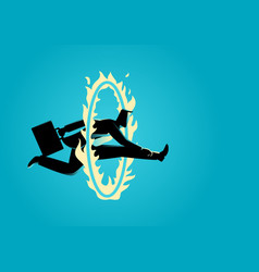 Businessman jumping through fire circle vector