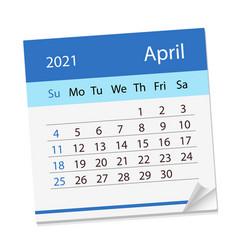 Calendar sheet on month april 2021 vector