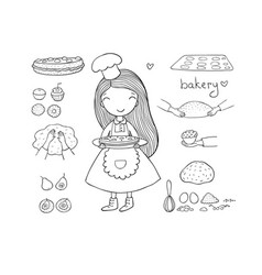 cartoon girl bakes a cake on a white background vector image
