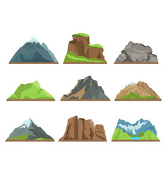 cartoon mountains silhouettes rocky ridges vector image