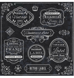 chalkboard labels and decorative elements vector image