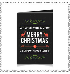 Chrismtas card with dark background and pattern vector