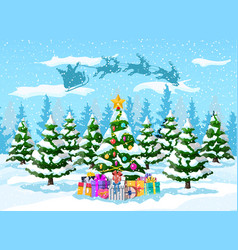 christmas tree santa claus with reindeer sleigh vector image