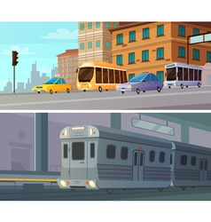 City Transport Cartoon Horizontal Banners vector
