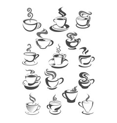 Coffee cups icons set for cafeteria or cafe vector