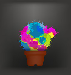 colorful cactus in a pot colorful concept vector image