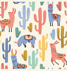 colorful llamas and cacti vector image