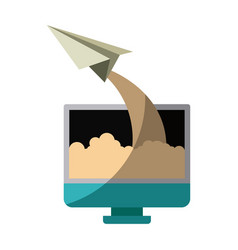 Colorful silhouette of lcd monitor and paper plane vector