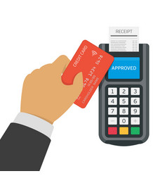 contactless payment with credit card vector image