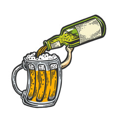 cup pours beer from bottle color sketch vector image