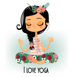Cute cartoon yoga girl vector