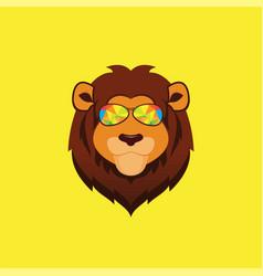 cute lion mascot logo vector image