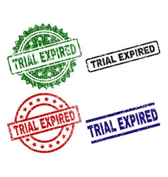 Damaged textured trial expired stamp seals vector