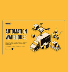 delivery warehouse automation isometric website vector image