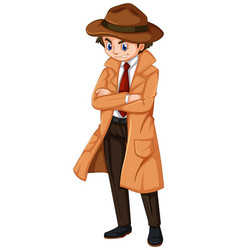 Detective wearing brown overcoat and hat vector