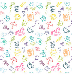 doodle children drawing background sketch set of vector image