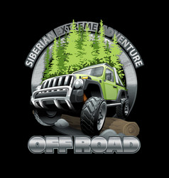 Extreme green off road vehicle suv siberian vector