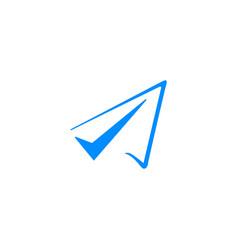 flight check paper plane logo icon vector image