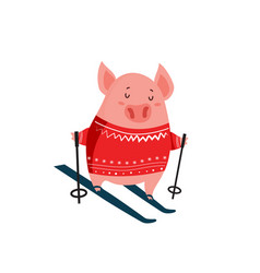 funny cartoon piglet on skis isolated on white vector image