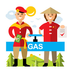 Gas pipeline russia - china flat style vector