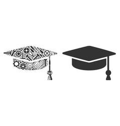 graduation cap composition of service tools vector image