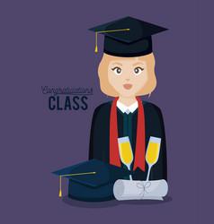 Graduation class celebration card with graduated vector