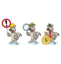 Gray Polecat Mascot with sign vector
