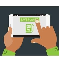 Green fuel charging mobile app vector