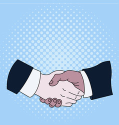 Hand shake between multiracial male business vector