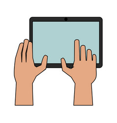 Hands with tablet icon image vector