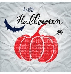 Happy Halloween greeting card with pumpkin vector image