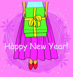 Happy new year card cartoon girl buttom vector