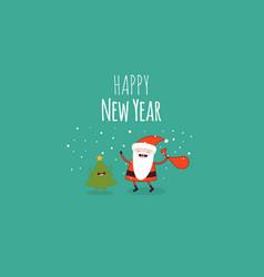 Happy new year card santa s greetings vector
