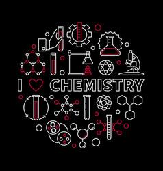 I love chemistry modern round vector