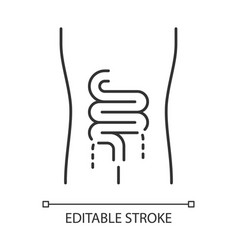 Ill intestines linear icon sore human organ vector