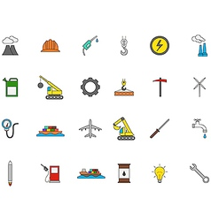Industry colorful icons set vector image