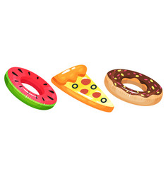 Inflatable swimming ring and air raft set vector