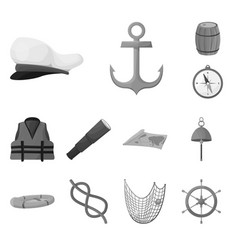 isolated object nautical and voyage logo set vector image