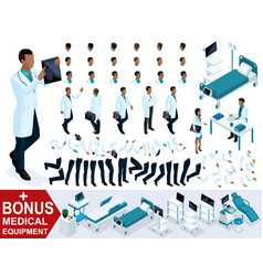 isometrics doctor african american shows tests vector image