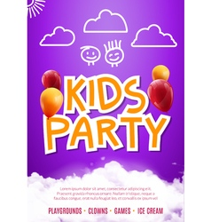 Kids party art flyer design Balloons design poster vector