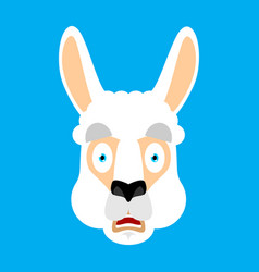 lama alpaca scared omg face avatar animal oh my vector image