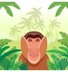Long-nosed monkey on the Jungle Background vector image