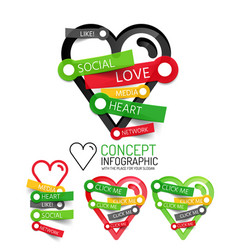 love heart linear style icons 3d cut out vector image
