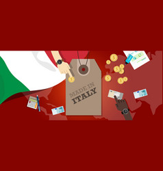 Made in italy price tag badge export vector