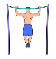 man pulling up on horizontal bar icon cartoon vector image