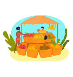 market stall tropical fruit set in flat style vector image